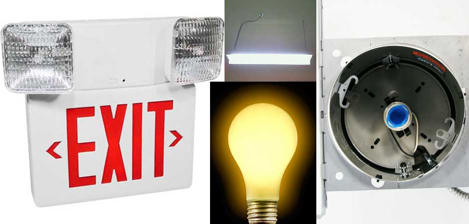 LIGHTING, Exit sign, T5 shop light, Can light, Light replacement