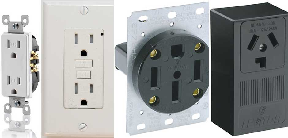 PLUGS & RECPTACLES, Decora outlet, GFCI receptacle, Dryer outlet, Range receptacle